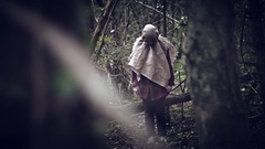 4K Horror Scarecrow with Sackcloth Mask Running Stock Footage