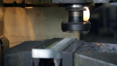 Rotating cutter lined metal part, which is clamped in a vise Stock Footage