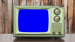Vintage Green Television and Wood Wall with Zoom into Chroma Blue Screen Stock Footage