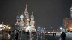 People walking at Red Square Kremlin Moscow city Russia. With Kremlin Chiming Stock Footage