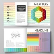 Business templates for square bi fold brochure, flyer, report. Leaflet cover Stock Illustration
