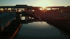 Sunset over Gowanus Canal in Brooklyn New York Stock Footage