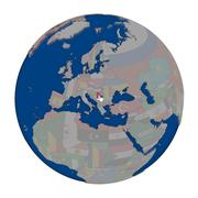 Serbia on political globe Stock Illustration