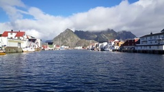 Houses in a fishing village Henningsvaer Stock Footage