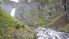 Waterfall in Voringfossen Stock Footage