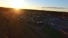 Sideways moving aerial of a evening or sunset in the town of Kemio, at kemi.. Stock Footage