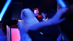 The Young Couple Dancing Macarena in a Nightclub Stock Footage