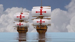 Templar galleon ships in water Stock Footage