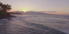 Maui Island Style Sunset Valley Mountians Over Ocean Jib Up Stock Footage