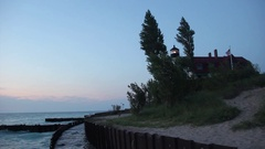Point Betsie Light at dusk Stock Footage