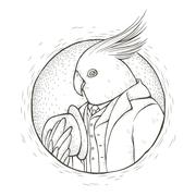 Gentleman parrot coloring page Stock Illustration