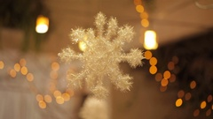 Christmas decoration with snowflakes and lights Stock Footage