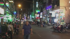 Nightlife with bars and pubs, Bui Vien Street i Stock Footage