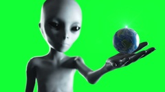 Alien hand reaching out with Earth planet. UFO futuristic concept. Green screen  Stock Footage