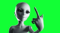 Alien show middle finger, fuck you. Smile. Green screen 4k footage. Stock Footage