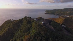 Aerial view over Fort Charlotte and revealing Boat Yard Arkistovideo