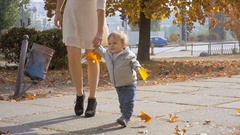 Slow motion footage of cute boy holding leaves and walking at park with mother Stock Footage