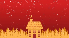 Golden house and trees in snowfall Stock Footage