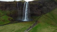 Iceland drone footage from Seljalandsfoss Stock Footage