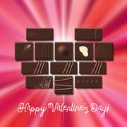 Valentines Day card with chocolate sweet candy heart collection Stock Illustration
