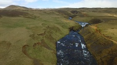 Iceland Drone Waterfall Shot from afar. Stock Footage