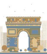 Arch of Triumph, Paris, France Stock Illustration