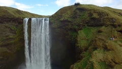 Skogafoss drone with bird in Iceland Stock Footage