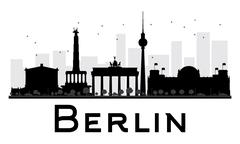Berlin City skyline black and white silhouette. Piirros