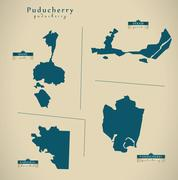 Modern Map - Puducherry IN India federal state illustration Stock Illustration