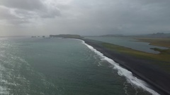 Iceland Drone footage at Black Sand Beach, Reynisfjara, Vik Stock Footage