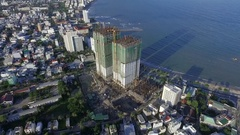 Aerial View of the Skyscrapers Being Built on the Waterfront Stock Footage
