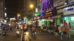 Nightlife with bars and pubs, Bui Vien Street Stock Footage