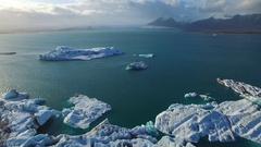 Iceland Drone footage at Jokulsarlon Glacier lagoon Stock Footage