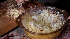 Mixing of Dough and Grated Apple. Closeup. Stock Footage