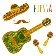 Mexican Fiesta Party. Maracas, sombrero, mustache and guitar. Stock Illustration