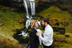 Young married couple spending honeymoon in picturesque environment Stock Photos