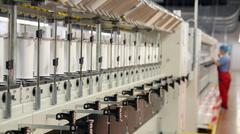 Automated Yarn Production in Modern Textile Plant Stock Photos