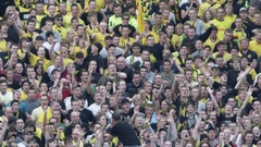 Soccer fans cheering in stadium Stock Footage