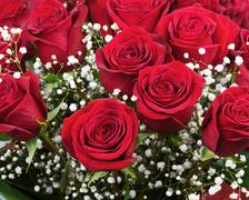 Nice flower bouquet from red roses. Closeup. Kuvituskuvat