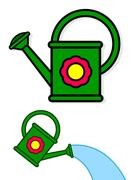 Colorful green cartoon watering cans Stock Illustration