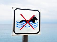 Dogs not allowed on beach sign, sea in background Stock Photos