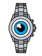 Blue eye on face of wristwatch smart watch Stock Illustration