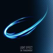 Neon blurry circles at motion . Abstract luminous swirl trail Stock Illustration