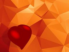 Love red heart over geometric background Stock Illustration