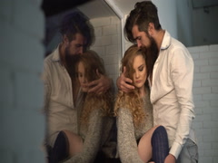 Passionate dating of a bearded man and a young blonde model. Stock Footage