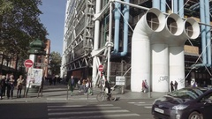 Centre Georges Pompidou huge pipes Stock Footage