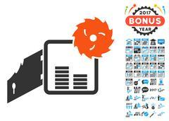 Broken Bank Safe Icon with 2017 Year Bonus Symbols Stock Illustration