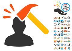 Head Shock Icon with 2017 Year Bonus Symbols Stock Illustration