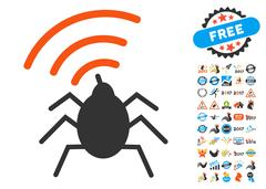 Radio Spy Bug Icon with 2017 Year Bonus Symbols Stock Illustration