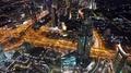 Dubai downtown at night, United Arab Emirates HD Footage